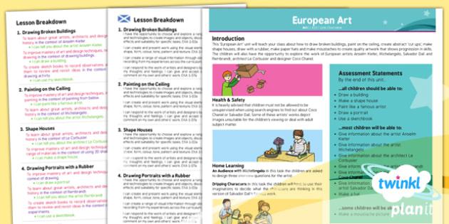 PlanIt - Art LKS2 - European Art Planning Overview CfE - european, art, planning, planit, overview, ks2, 2014, planning
