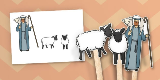 The Lost Sheep Stick Puppets - the Lost Sheep, sheep, shepherd, lost sheep, story, story book, story sequencing, story resources, stick puppet, 100, 99, search, searching, looking for, safe, carried home, bible story, bible, party, happy
