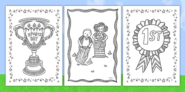 Sports Day Themed Mindfulness Colouring Sheets -  Mindfulness Colouring Primary Resources, Mindfulness Colouring Sheets, Complicated Colouring, Adult Colouring, Book, Colour, KS2 Primary Teaching Resources, PE, summer, school event,