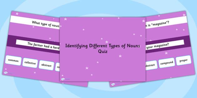 Identifying Different Types of Nouns SPaG Grammar PowerPoint Quiz