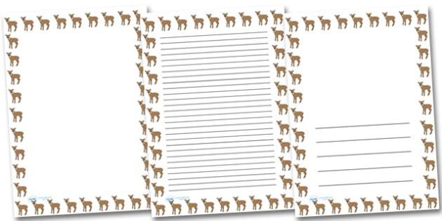 Fawn Portrait Page Borders- Portrait Page Borders - Page border, border, writing template, writing aid, writing frame, a4 border, template, templates, landscape