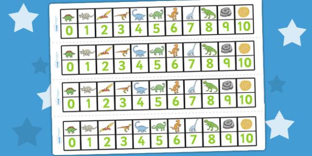 Dinosaurs Number Track (1-10) - Maths, Math, dinosaur, number track, numbertrack, Counting, Numberline, Number line, Counting on, Counting back, history, t-rex, stegosaurus, raptor, iguanodon, tyrannasaurus rex