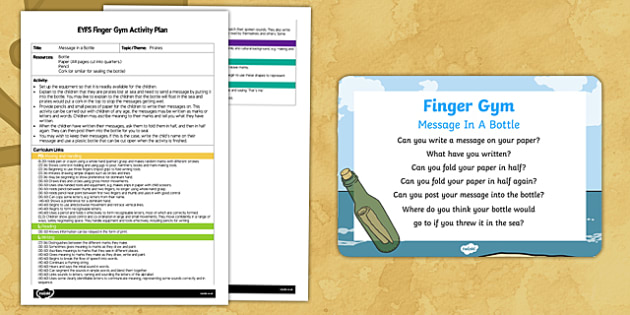 EYFS Message in a Bottle Finger Gym Plan and Prompt Card Pack