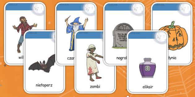 Karty ze słownictwem Halloween po polsku - duch, wiedźma