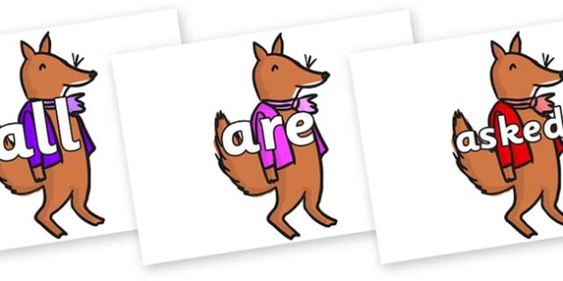 Tricky Words on Small Fox 2 to Support Teaching on Fantastic Mr Fox - Tricky words, DfES Letters and Sounds, Letters and sounds, display, words