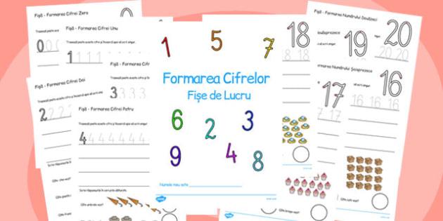 Formarea Numerelor 0-20 - fise clasa pregatitoare, matematica, Romanian
