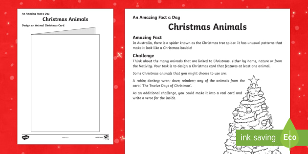Amazing Fact a Day KS2 Countdown to Christmas Day 17 Design an Animal Christmas Card Activity Sheet - Amazing Fact Of The Day, activity sheets, powerpoint, starter, morning activity, December, Christmas