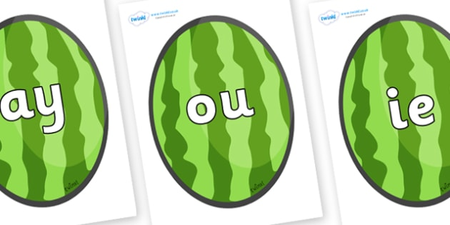 Phase 5 Phonemes on Melons (Vertical) - Phonemes, phoneme, Phase 5, Phase five, Foundation, Literacy, Letters and Sounds, DfES, display
