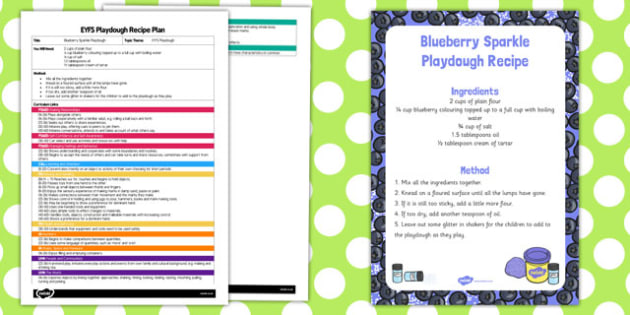 EYFS Blueberry Sparkle Playdough Plan and Recipe Pack - recipe, pack