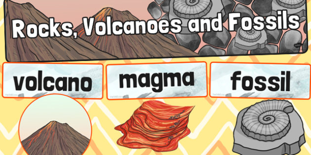Rocks Volcanoes and Fossils Word Wall Pack - pack, word, wall