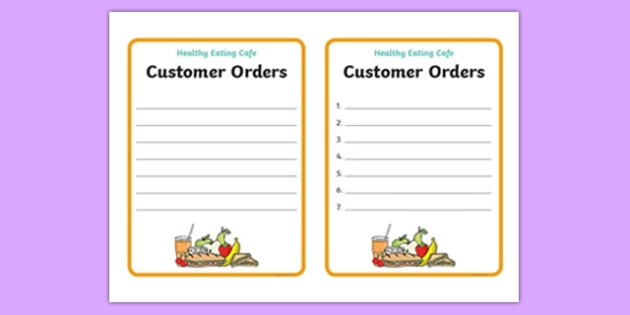 Healthy Eating Cafe Role Play Order Forms - healthy eating caf