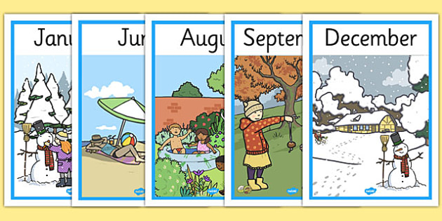 Months Of The Year Seasons Posters - month, year, season, weather