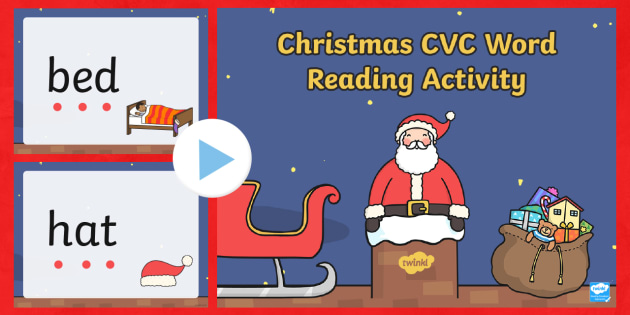 Christmas CVC Words Reading PowerPoint