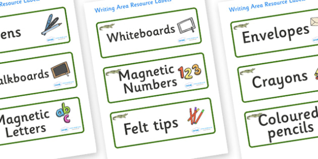 Crocodile Themed Editable Writing Area Resource Labels - Themed writing resource labels, literacy area labels, writing area resources, Label template, Resource Label, Name Labels, Editable Labels, Drawer Labels, KS1 Labels, Foundation Labels, Foundat