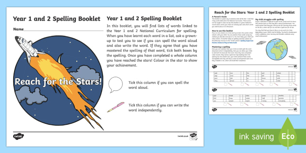 Reach for the Stars: Year 1 and 2 Spelling List Booklet Checklist - Year 2, Year 1, spellings, punctuation, grammar, sentences, SPaG, read, write, spell, booklet, stars