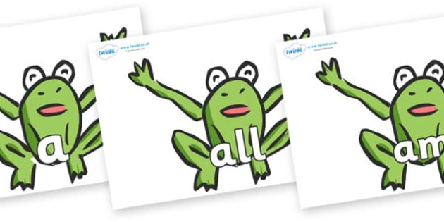 Foundation Stage 2 Keywords on Frogs - FS2, CLL, keywords, Communication language and literacy,  Display, Key words, high frequency words, foundation stage literacy, DfES Letters and Sounds, Letters and Sounds, spelling