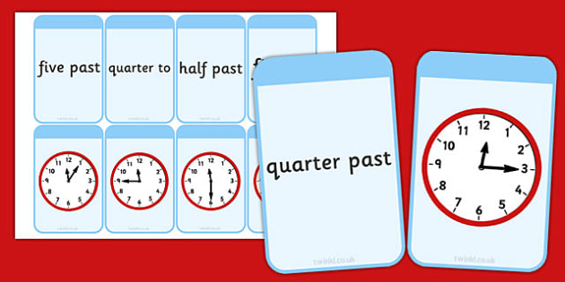 O'clock, Quarter Hours, Half Hours and Five Minute Matching Flashcards - time, flashcards
