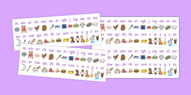 Phase 3 Sound Strips - Sound strip, Letters and Sounds, DfES Letters and Sounds, Phase 3, Phase three, Foundation, Literacy, Mnemonic Images