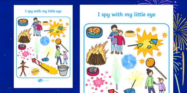 Bonfire Themed I Spy With My Little Eye Activity Sheet - i spy with my little eye, i spy, activity, bonfire, worksheet