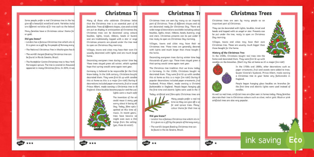 KS2 Christmas Trees Differentiated Fact File - Christmas, Nativity, Jesus, xmas, Xmas, Father Christmas, Santa, Christmas trees.