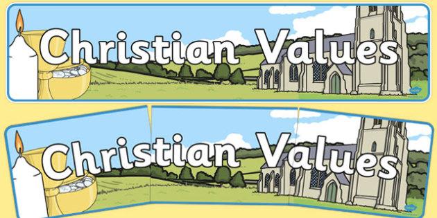 Christian Values Display Banner - christian values, display banner, display, banner, christian, values