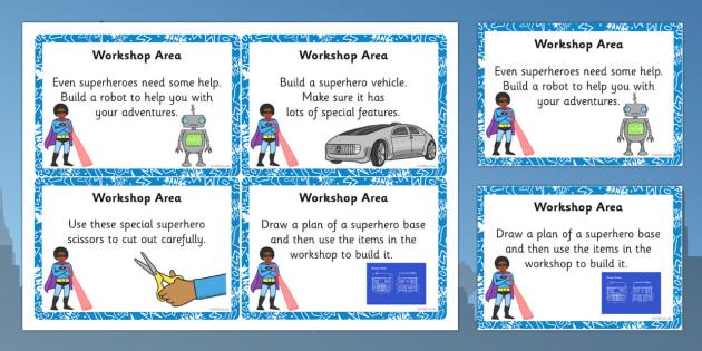 EYFS Superhero Themed Workshop Area Challenge Cards - superhero