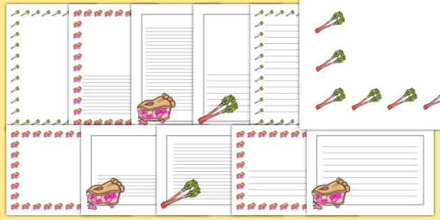 Rhubarb Page Borders Pack - vegetable patch, grow, growing, plant, british, ks1, ks2, garden, outside,
