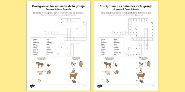 Crucigrama: Los animales de la granja Farm Animals in Spanish Crossword - spanish, Farm, animals, granja, animales, crossword, worksheet