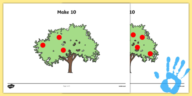Apple Tree Fingerprint How Many More to Make 10? Activity Sheet Pack - maths, ssm, shape space measure, painting activities, worksheet