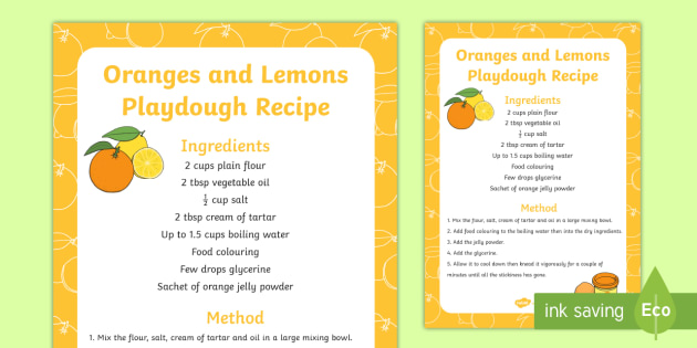 Oranges and Lemons Playdough Recipe - playdough, recipe, oranges
