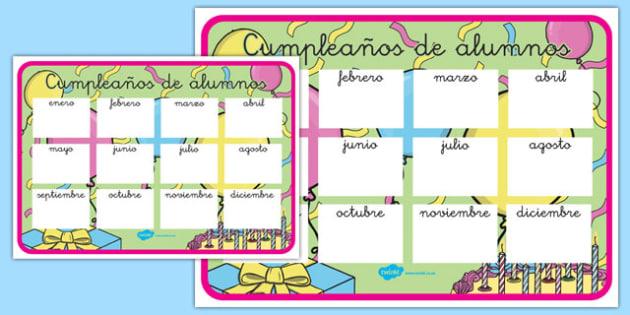 Pósters: cumpleaños de alumnos