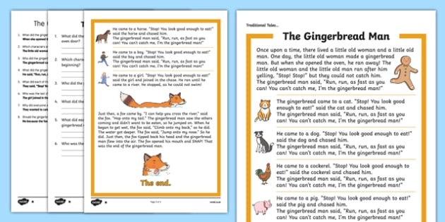 The Gingerbread Man Traditional Tales Differentiated Reading Comprehension Activity