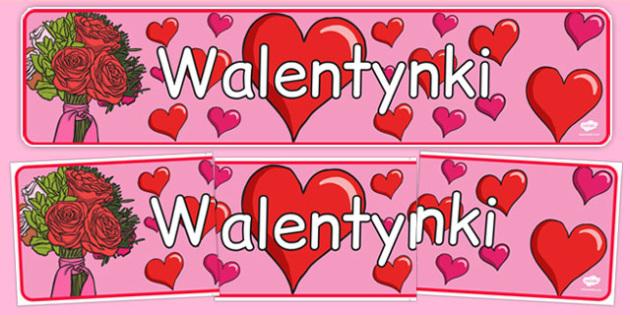 Banner na gazetkę Walentynki po polsku - luty, zima
