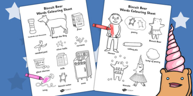 Words Colouring Sheet to Support Teaching on Biscuit Bear - Biscuit, Bear, Colour, Words
