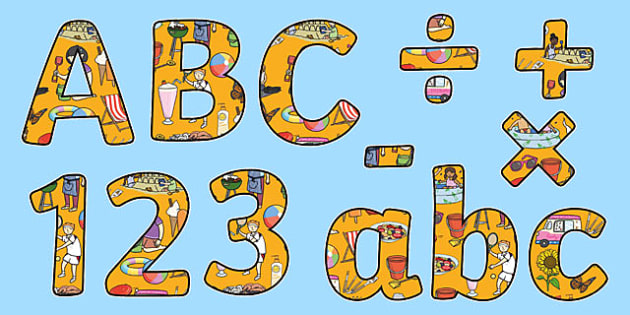 Summer Themed Display Letters and Numbers Pack - summer, display lettering, display, letter, number, Science lettering, Science display, Science display lettering