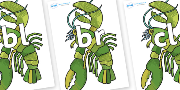 Initial Letter Blends on Lobster - Initial Letters, initial letter, letter blend, letter blends, consonant, consonants, digraph, trigraph, literacy, alphabet, letters, foundation stage literacy