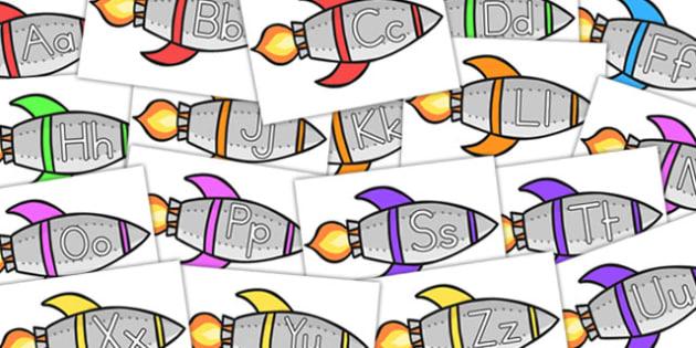 A-Z on Rockets Red - australia, alphabet, rockets, space, display