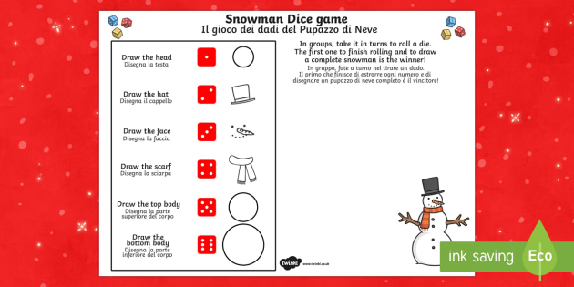Snowman Dice Game Activity Sheet English/Italian - Snowman Dice Game Activity Sheet - game, activity, fun, activity sheet, snowman, snowman game, snowm