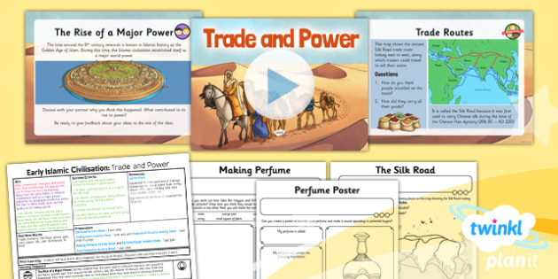 PlanIt - History UKS2 - Early Islamic Civilisation Lesson 6: Trade and Power Lesson Pack - Silk Road, Baghdad, trade, Islam, power, perfume, Al-Kindi, Jabir ibn Hayyan