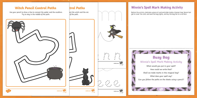 Winnie's Spell Mark Making Busy Bag Prompt Card and Resource Pack