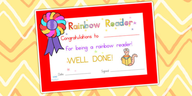 Editable Rainbow Reader Book Certificate - reading, certificate