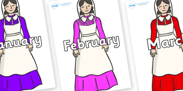 Months of the Year on Florence Nightingale - Months of the Year, Months poster, Months display, display, poster, frieze, Months, month, January, February, March, April, May, June, July, August, September