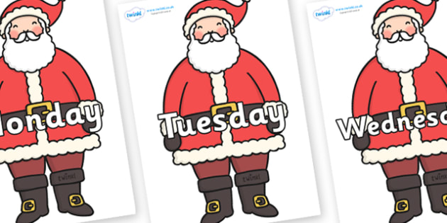 Days of the Week on Father Christmas - Days of the Week, Weeks poster, week, display, poster, frieze, Days, Day, Monday, Tuesday, Wednesday, Thursday, Friday, Saturday, Sunday