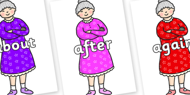KS1 Keywords on Enormous Turnip Old Woman - KS1, CLL, Communication language and literacy, Display, Key words, high frequency words, foundation stage literacy, DfES Letters and Sounds, Letters and Sounds, spelling