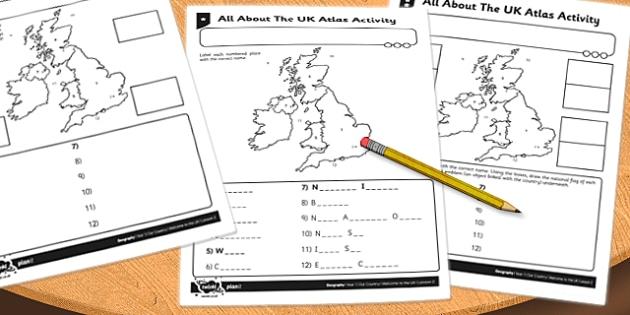 UK Atlas Activity Sheet - uk, atlas, activity, sheet, worksheet