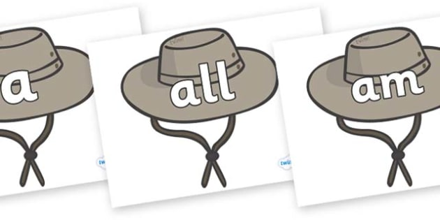 Foundation Stage 2 Keywords on Cowboy Hats - FS2, CLL, keywords, Communication language and literacy,  Display, Key words, high frequency words, foundation stage literacy, DfES Letters and Sounds, Letters and Sounds, spelling