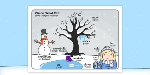 Winter Scene Word Mat Romanian Translation - romanian, winter, scene, word mat, word, mat