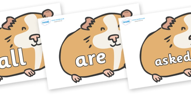 Tricky Words on Guinea Pigs - Tricky words, DfES Letters and Sounds, Letters and sounds, display, words