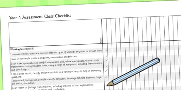 2014 Curriculum Year 4 Science Assessment Class Checklist - target