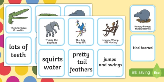Everyone is Special Matching Game to Support Teaching on The Enormous Crocodile Game